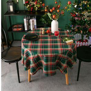 جولة عيد الميلاد مفرش أحمر أخضر متقلب مفرش زينة عيد الميلاد الديكور سطح المكتب على مدار مفرش المائدة 90 100 120 150CM XD24159