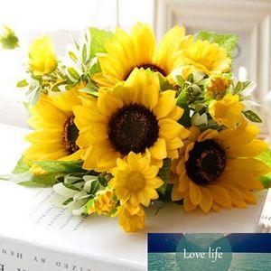 1 무리 7 머리 해바라기 실크 가정용 웨딩 장식 거실 테이블 창 장식에 대 한 해바라기 실크 인공 꽃 꽃다발