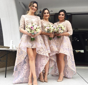 Jewel Neck Country Boho Wedding Guest Bridesmaid Dresses Modest Plus Size Lace 2020 High Low Half Sleeve Maid Of Honor Gowns Formal Dress