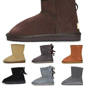 Sapatos Newboot bota de neve Fur mini-Austrália Mulheres Mid-bezerro Plush botas de neve de inverno curtos para a guerra Mulheres neve Sapatos Inverno Plano Ladies Leather