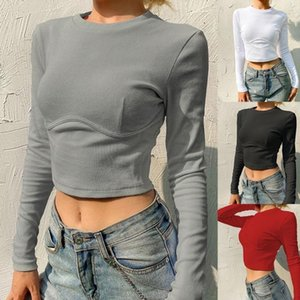 Women Long Sleeve O-Neck T Shirt Ribbed Knit Solid Color Bodycon Corset Crop Top 28GD1