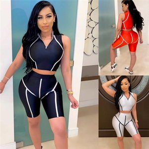 Tracksuits Plus Size Skinny Sexy Sleeveless Top Biker Shorts Summer Casual Women Two Piece Sets Sports Fiitness Clothing Striped Womens Yoga