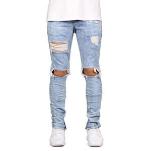 NOUVEAU Mode Mens Biker Jeans Spring Genou Spring Black Bleu Patchwork Patchwork Pantalons Streetwear Street élégant pour hommes