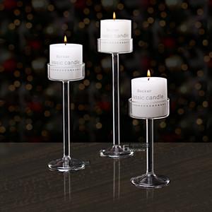 Nuevo estilo 2020 Classic Glass Villa Soporte de la vela de la boda Party Decoración para el hogar Decoración de la decoración Candlestick Ublet Tall Candlesticks Y1221