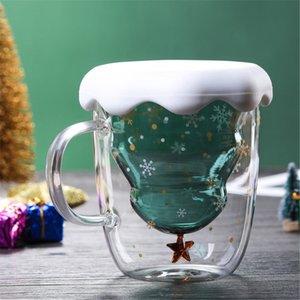 300ML Çift Katmanlı Karşıtı Haşlanma Cam Noel ağacı Starry Sky Coffee Mug Isı Yalıtımı kahvaltı Süt Kupası Çocuk Hediye