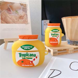 귀여운 오렌지 주스 헤드셋 케이스 에어 포드 3 커버 재미 있은 이어폰 충전 상자 보호 케이스 에어 포드 프로 2 1 소프트 카페