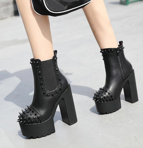 2020 hot sale ankle boots for women pu round toe autumn winter boots rivet punk high heels platform boots woman shoes