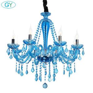 Modern crystal chandeliers led lamps living room led chandelier light blue decor lighting lustre pendant droplight