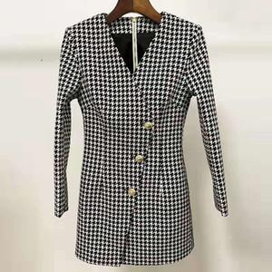 Hot Sale V neck Swallow Gird dresses for women luxury designer sexy blazer dress spring fall lion head button fashion