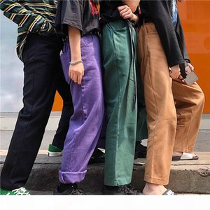 2018 new Korean version of ulzzang original BF wind retro overalls jeans loose men's and women's leisure broad-legged pants