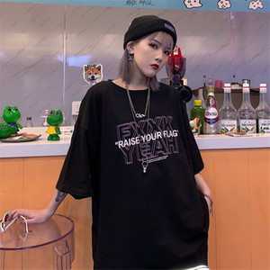 New girl Commes Des Garcons punk style letter LOGO women's T-shirt, loose casual hip-hop high street style men's and women's T-shirt