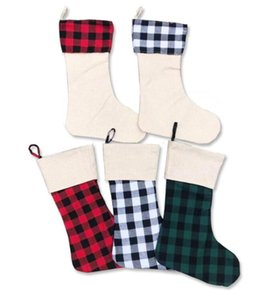 Christmas Stockings Ornaments Plaid Black Red Xmas Tree Socks Candy Gift Storage Bag Hanging Pendant Party Decoration EEC3354