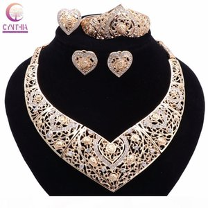 Bridal Wedding African Beads Jewelry Sets Gold Plated Crystal Women New Design Heart Necklace Earrings Bangle Ring Jewelry Sets