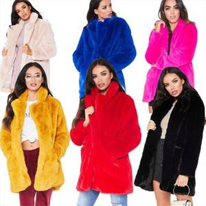 European American new fashion elegant women long loose wool soft rabbit hair faux fur coat S 3XL,white,pink,yellow,black,red