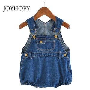 Joyhopy Детская одежда Весна Лето Малыш Малыш Babygirl Комбинезон Джинсовая Кнопка Rompers Детская Одежда Y200704