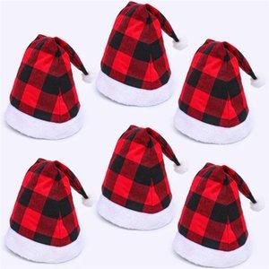 Papai Noel Natal chapéus vermelhos preto da manta Xmas Cap Curto Plush com Branco punhos Tecido Noel Hat Decoração DWC2981