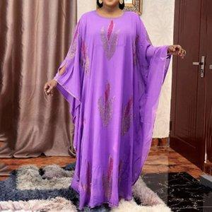 2021 Две роскошные женские кусочки счета негабаритные длинные вечеринки платье Дубай африканский мода плюс черный размер фиолетовые элегантные платья W73Y