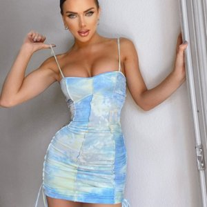 Rozvs Ins Stil Sommer 2020 Frauen Hip Wrap Sling Rock Sexy Slim Color Tie Dye Hosenträger Kleid Frauen Tasche Hüftrock