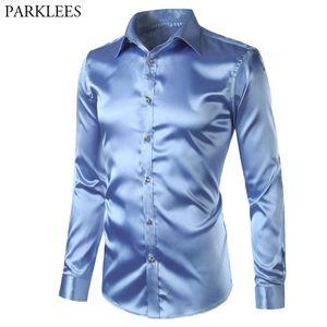 New Silk Satin Shirt Men Business Weedding Club Party Prom Dress Shirts Mens Slim Fit Long Sleeve Tuxedo Shirt Male Camisas 201022