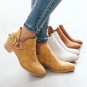 2020 Mulheres Moda Botas Casual Couro Low High Heel Primavera Sapatos mulher apontou Toe borracha Botas Zapatos Mujer 2851 #