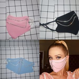 Strass masque multicolore mode cristal chaîne personnalité de la taille moyenne taille épissure réutilisable femme visage ornements ornements 2020 5 9YXB K2