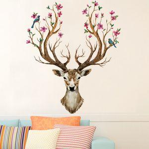 artificial reindeer wallpaper self adhesive poster home living room saloon store decor flower deer head wall sticker
