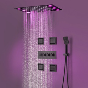"Luxury Bathroom Ceiling Black Shower System Led light Shower Modern Rain Shower Head Kits with 3 Function Diverter Valve + 4"" Side Sprays"