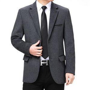 Blazer Masculino Темно-синий Серый 2 Цвета Бизнес Мужские Костюмы Куртки Осень Самец Длинный Рукав Отворотный Прямой Повседневный Костюм Homme1