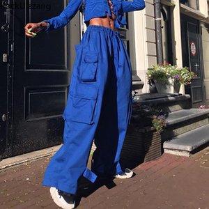 ROCKULZZANG HARAJUKU Streetwear High Cintura suelta Baggy Straight Jogger Botter Botter Strap Hem Cargo Pocket Hip Hop Pantalla Pantalets Punk1
