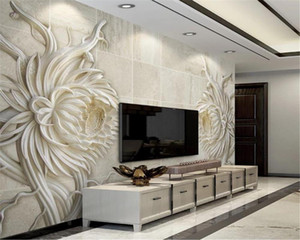 Wall Papers Home Decor Relief Sandstone Texture Stone Carved Sunflower 3D Stereo Living Room Bedroom Decoration Mural Wallpaper