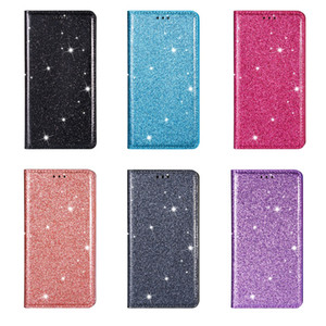 Magnetic Closure Suck Leather Wallet Cases For Samsung Galaxy S21 Ultra Case S21 Plus A42 A12 Bling Glitter Sparkle Card Holder Flip Cover