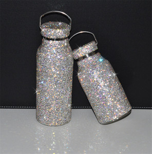 2021 Fashion New Thermos Cup Flashing Diamond Glowing Kettle 304 Stainless Steel Water Cup Ladies Water Bottles Trend Style