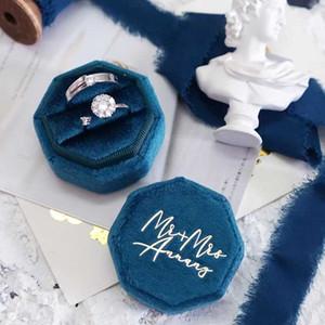 쥬얼리 파우치, 가방 개인화 된 벨벳 반지 상자 웨딩 약혼 제안 팔각형 링 베어러 선물 그녀의 사용자 정의 로고 호 일