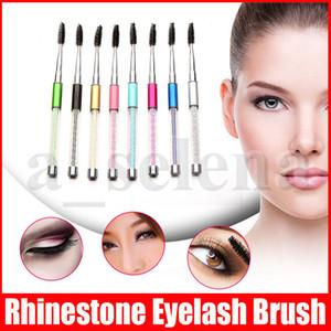 Rhinestone Pie de pestañas Pincel de la pestaña Aplicador de la ceja Peine de la ceja Pincel de maquillaje de diamante reutilizable espiral pestañas cepillo 10 colores