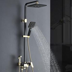 ماتي الأسود الذهب صنبور الحمام المطر دش حمام صنبور الحائط حوض الاستحمام خلاط صنبور مجموعة خلاط