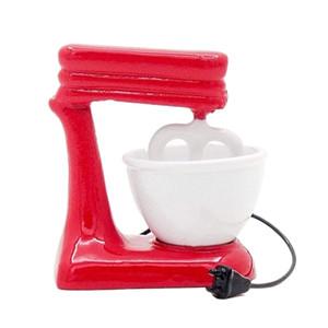 Odoria 1:12 Minyatür Eski Moda Kırmızı Standı Mikser Kase Metall Dollhouse Mutfak Aksesuarları LJ201211