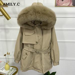 Amily.c 90% Winterjacke Frauen Kapuzen Thick Wärme nach unten Parka-Mantel mit Big wirklichen Fox-Pelz-Kragen