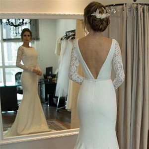 Setwell Jewel Neck Mermaid Wedding Dresses Long Sleeves Sexy Backless Lace Appliques Floor Length Bridal Gowns With Belt