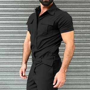 2020 Summer Mens Overalls Jumpsuit Short Sleeve Rompers Solid Color Casual Street Style Romper Pocket Trousers 1004