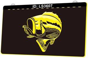 LS3607 Fish 3D Engraving LED Light Sign 9 Colors Wholesale Retail Free Design