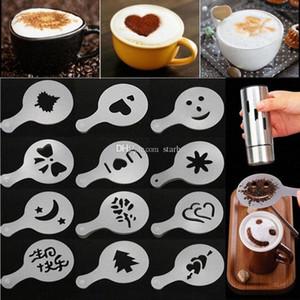 Кофе Трафарет Фильтр чайник Cappuccino Barista Mold Шаблоны посыпают Цветы Pad Spray Art Кофейные инструменты 16pcs / серия WX9-1769 b57Z #