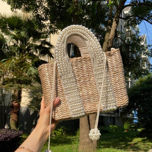 Fashion Pearls Rattan Women Handbags Design Beading Wicker Woven Shoulder Bags Luxury Summer Beach Straw Bag large tote baskets