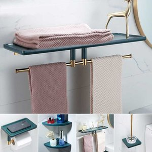 Bathroom Hardware Set Gold Towel Rack Paper Holder Towel Bar Corner Shelf Toilet Brush holder Gold Brass Bathroom Accessories