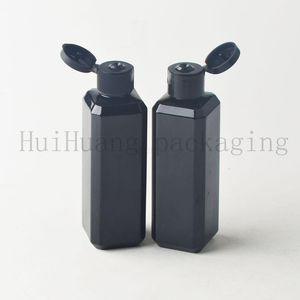 50pcs 100ml flip top cap plastic black square bottle Cosmetic lotion cream PET container Travel shampoo bottles with lid