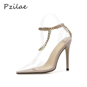Pzilae 2020 sexy women pointed toe high heels pumps fashion chain ankle strap wedding party shoes transparent PVC women pumps