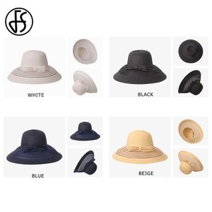 FS Women Straw Hat With Big Bow White Black Wide Brim Floppy Foldable Beach Hats Female Ladies Spring Summer Visor Sun Caps 201015