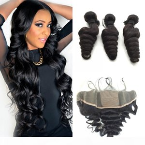 Brazilian Loose Wave Silk Base Frontal With Bundles 4Pcs Lot Virgin Hair Weave With Silk Top Lace Frontal Closure