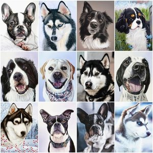 Haucan DIY Diamond Painting Dog Animal Diamond Embroidery Sale Full Square Rhinestone Picture 5d Mosaic DropShip