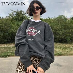 TVVOVVIN Frauen Druck Vorne In Heather Grey Tropfen Schultern Maxi-Sweatshirt LD9G