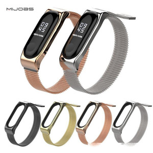 MIJOBS Wristbands For Xiaomi Miband3 Classic Milan Magnetic Stainless Steel Smart Straps for Miband2